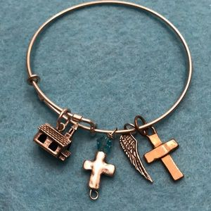Jewelry - Christian Charm Adjustable Sterling Silver Bangle